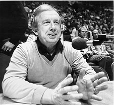 "FILE--Jack Fleming, the former ""Voice of the Mountaineers"" at West Virginia University, is shown in a file photo, date unknown, at the announcer's table in Morgantown, W.Va. Fleming, 77, died Wednesday, Jan. 3, 2001 at his home in Pittsburgh. He is most famous for his call of the ""Immaculate Reception"" pass caught by Pittsburgh Steelers' Franco Harris in the 1972 Steelers-Oakland Raiders playoff game.(AP Photo/file)"